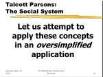 talcott parsons the social system21