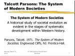 talcott parsons the system of modern societies