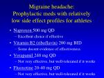 migraine headache prophylactic meds with relatively low side effect profiles for athletes