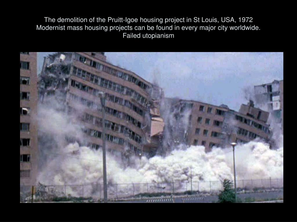 The demolition of the Pruitt-Igoe housing project in St Louis, USA, 1972