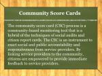 community score cards