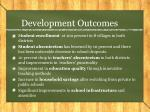 development outcomes