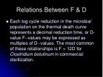 relations between f d