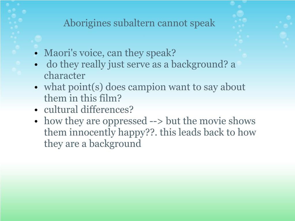 Aborigines subaltern cannot speak