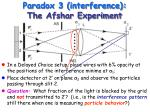 paradox 3 interference the afshar experiment