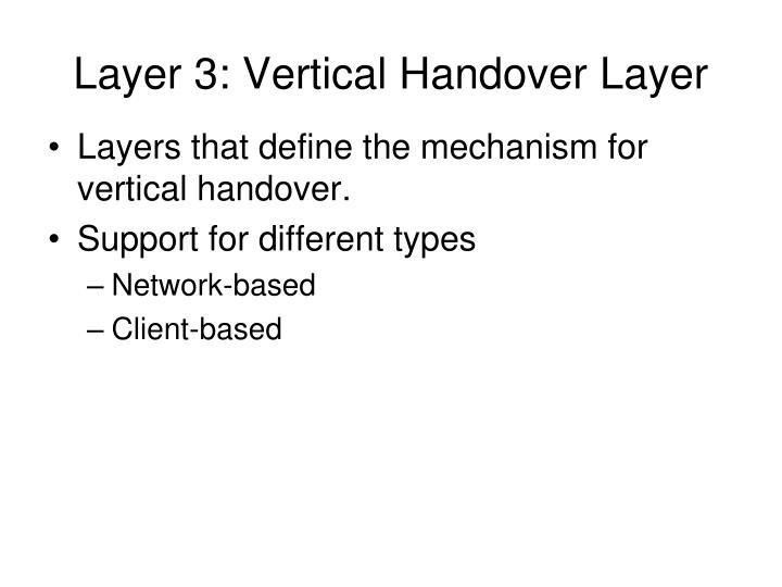 Layer 3: Vertical Handover Layer