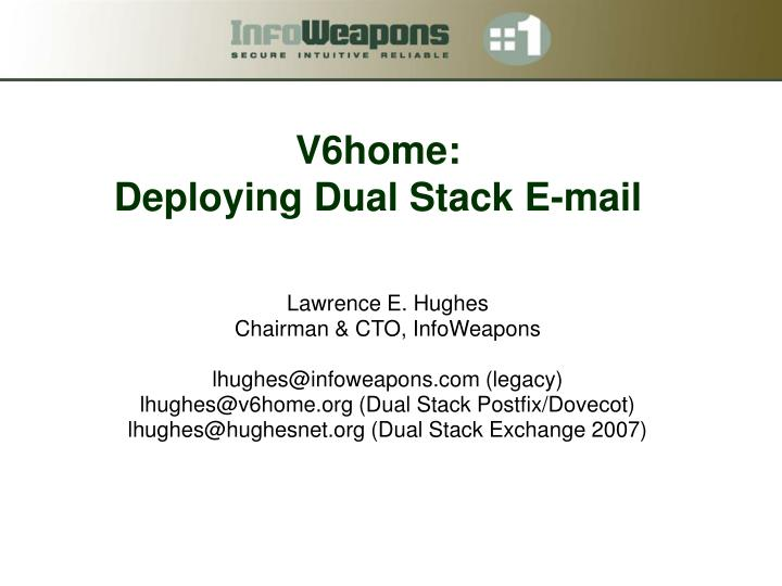 v6home deploying dual stack e mail n.