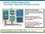 generic online diagnostics an example supervisor datapath coverage