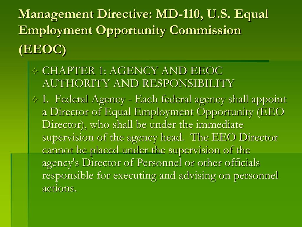 Management Directive: MD-110, U.S. Equal Employment Opportunity Commission (EEOC)