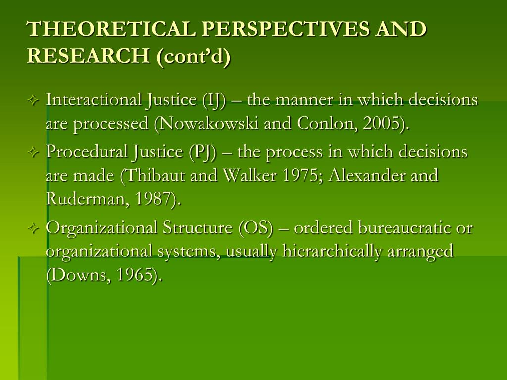 THEORETICAL PERSPECTIVES AND RESEARCH (cont'd)