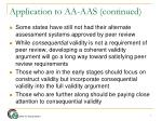 application to aa aas continued