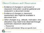 direct evidence and observation