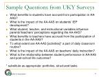sample questions from uky surveys