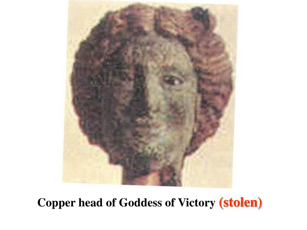 Copper head of Goddess of Victory