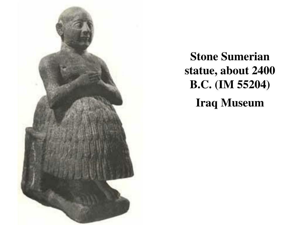 Stone Sumerian statue, about 2400 B.C. (IM 55204)