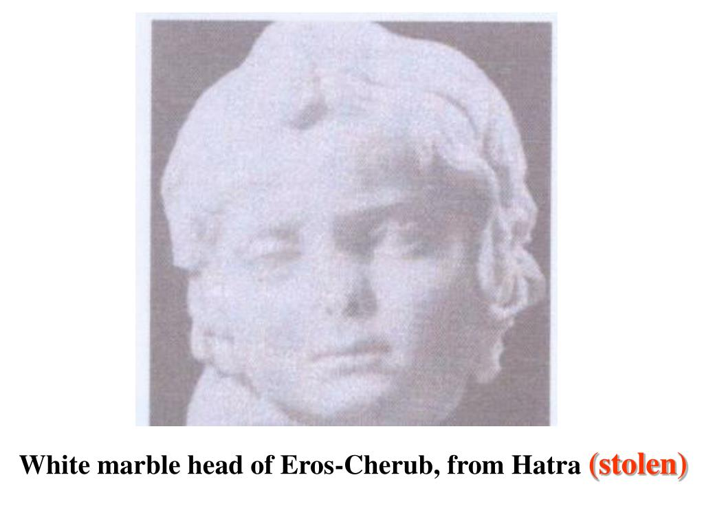 White marble head of Eros-Cherub, from Hatra