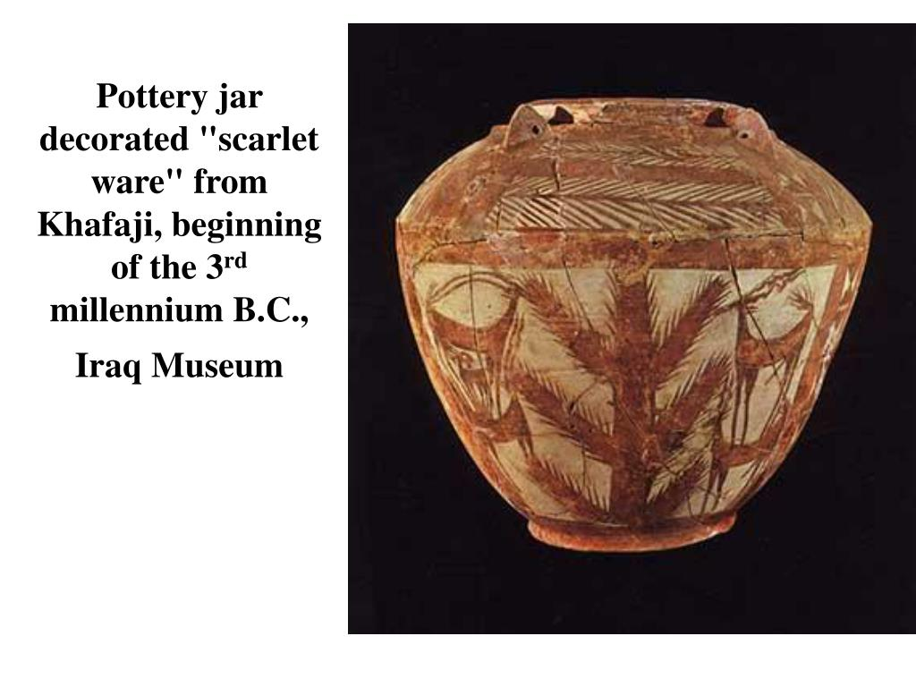 """Pottery jar decorated """"scarlet ware"""" from Khafaji, beginning of the 3"""