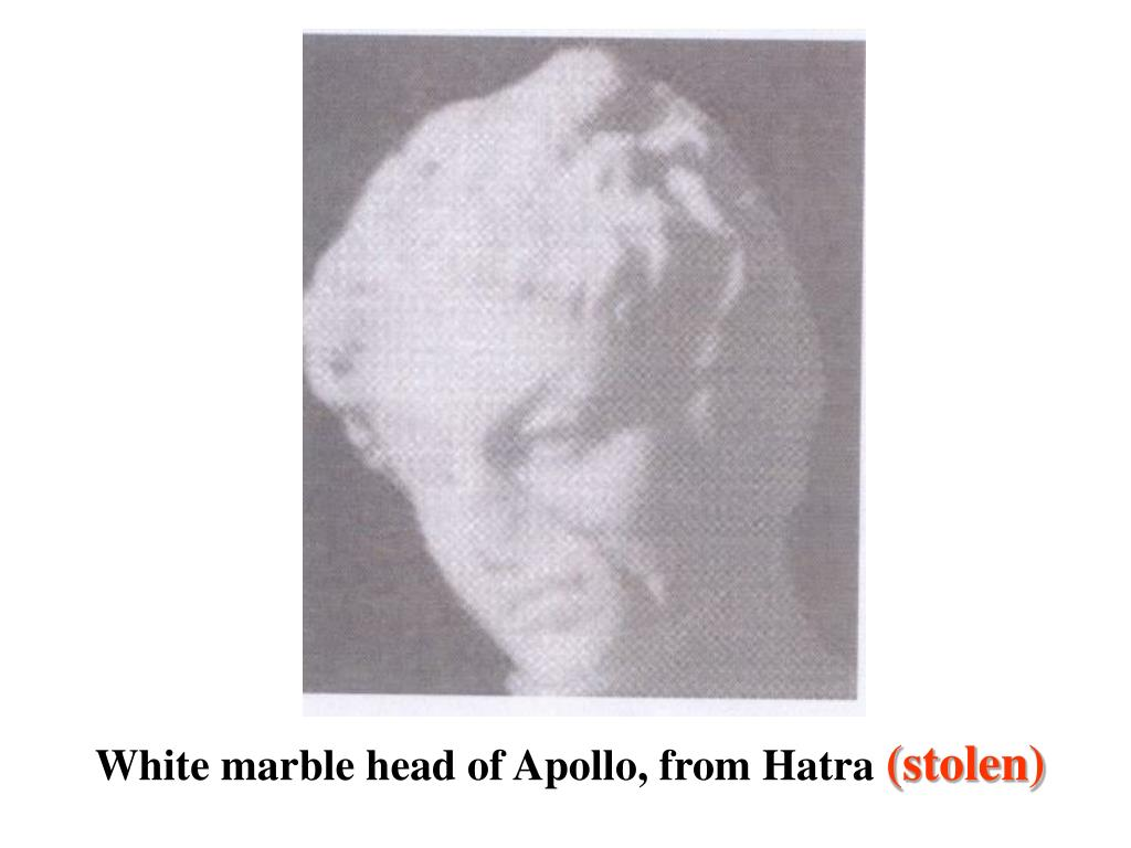 White marble head of Apollo, from Hatra