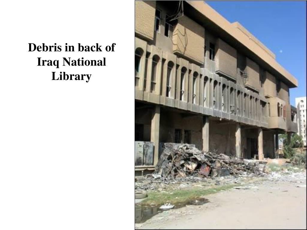 Debris in back of Iraq National Library