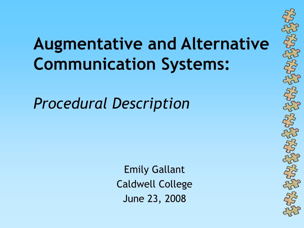 augmentative and alternative communication systems procedural description l.
