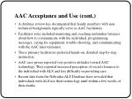 aac acceptance and use cont