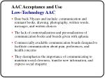 aac acceptance and use low technology aac