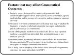 factors that may affect grammatical outcomes