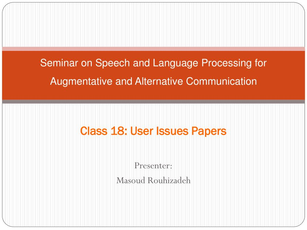 seminar on speech and language processing for augmentative and alternative communication l.