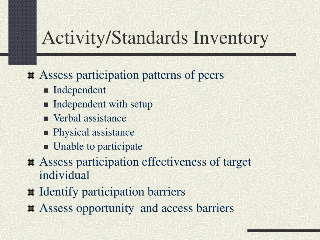 Activity/Standards Inventory