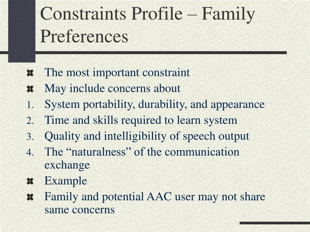 Constraints Profile – Family Preferences