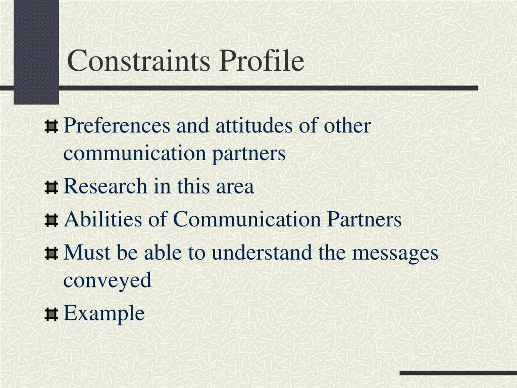Constraints Profile