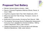 proposed test battery