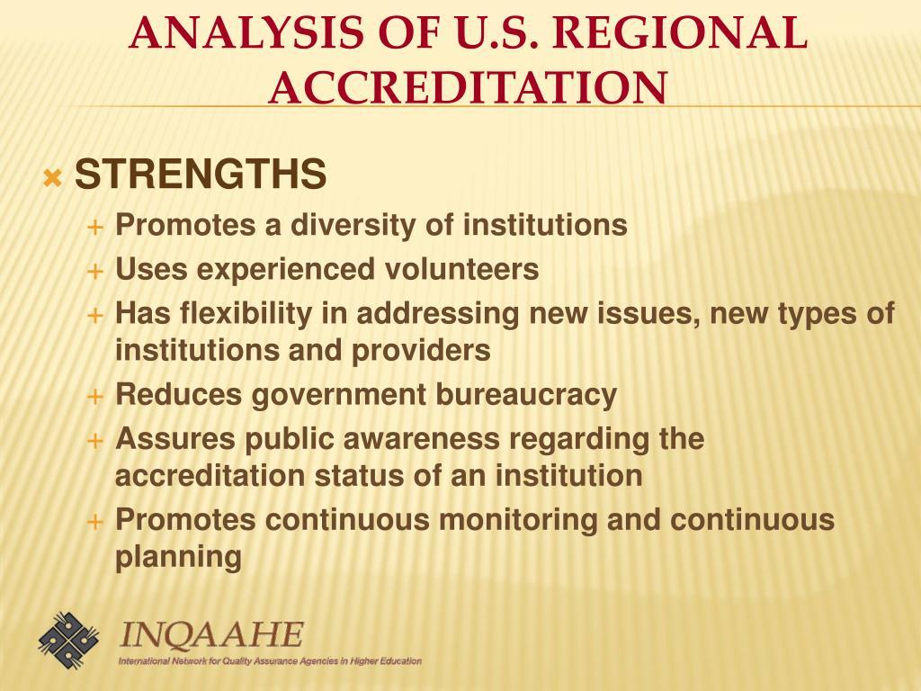 ANALYSIS OF U.S. REGIONAL ACCREDITATION