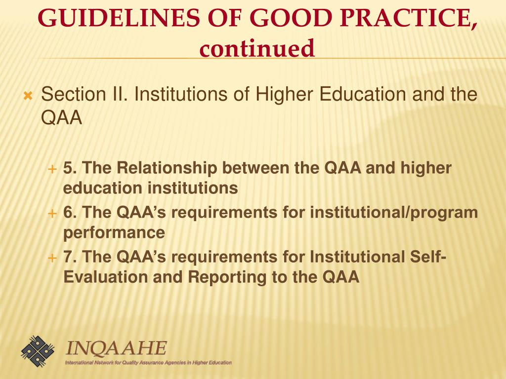 GUIDELINES OF GOOD PRACTICE, continued
