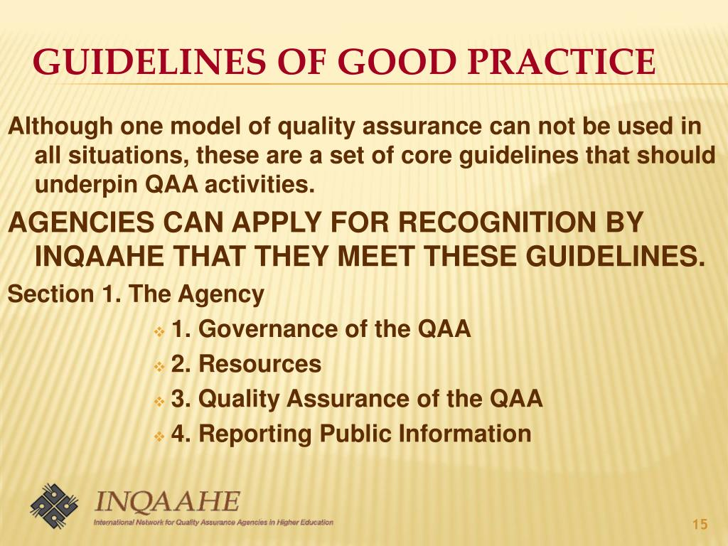 GUIDELINES OF GOOD PRACTICE