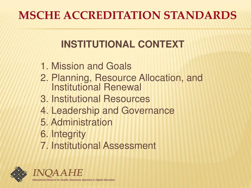 MSCHE ACCREDITATION STANDARDS
