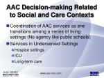 aac decision making related to social and care contexts