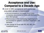 acceptance and use compared to a decade ago