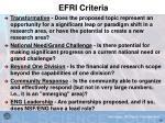 efri criteria