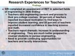 research experiences for teachers findings