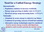 need for a unified energy strategy