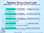 nuclear power fuel cycle 1000 mwe yr a once thru b u pu recycle iaea 1997
