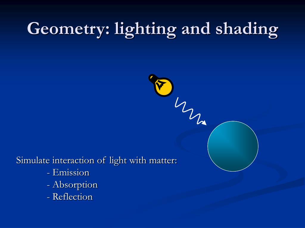 Geometry: lighting and shading