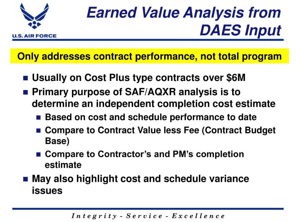 Earned Value Analysis from DAES Input