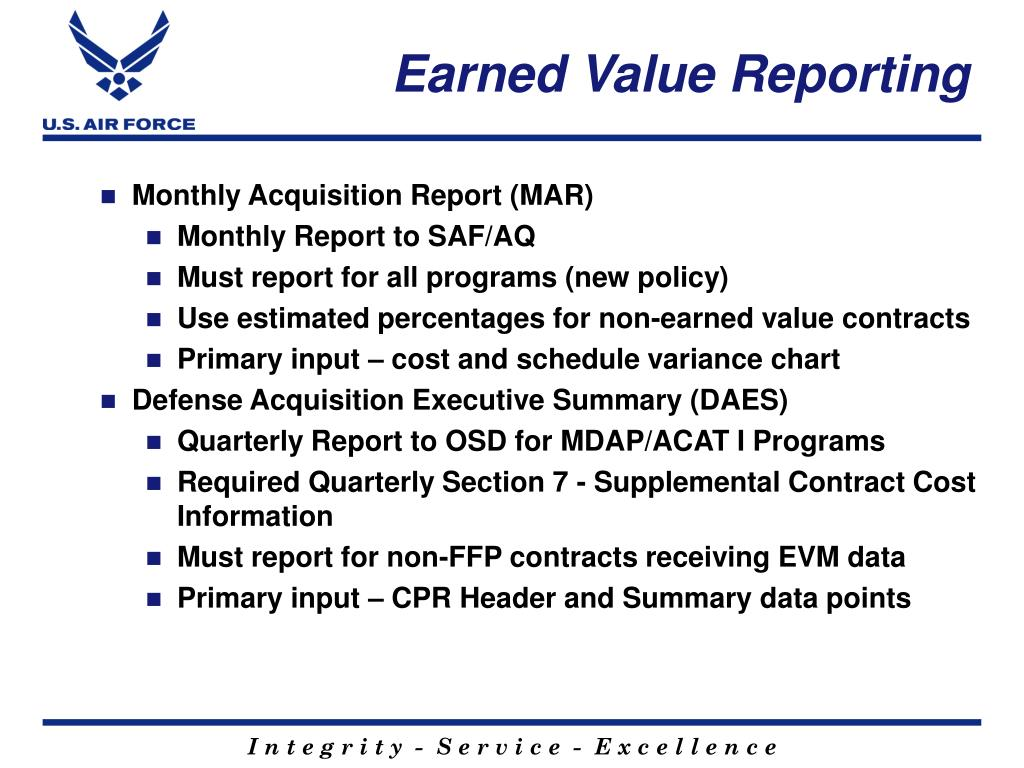 Earned Value Reporting