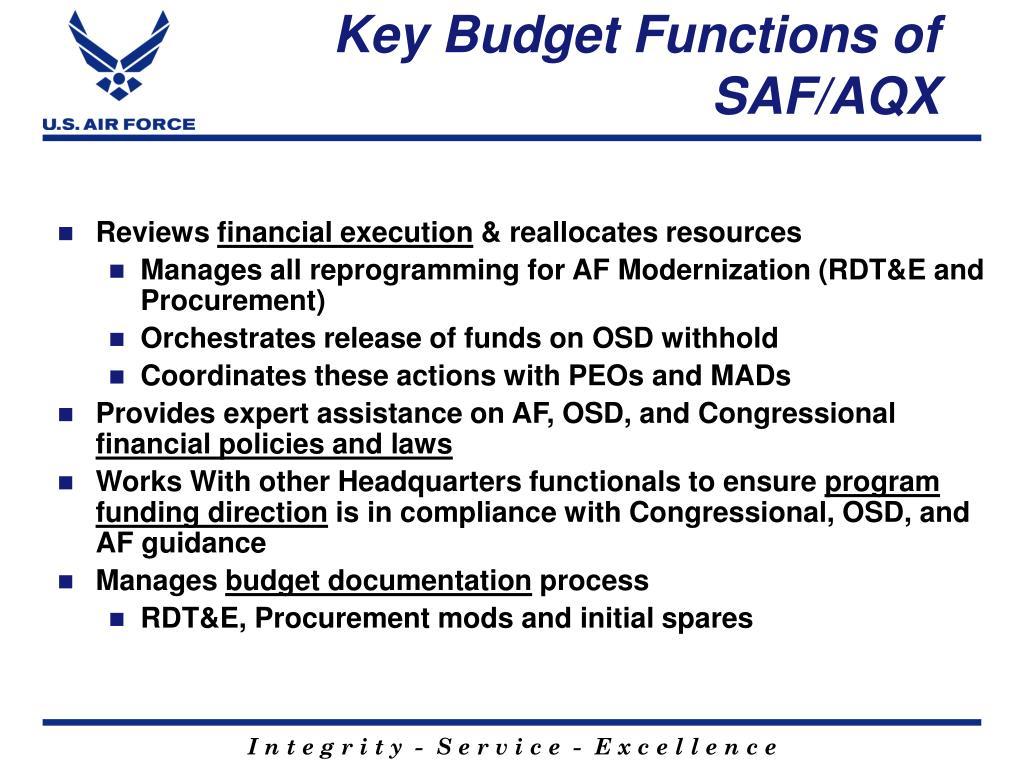 Key Budget Functions of SAF/AQX
