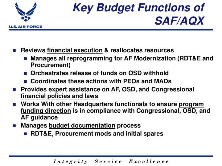 Key budget functions of saf aqx