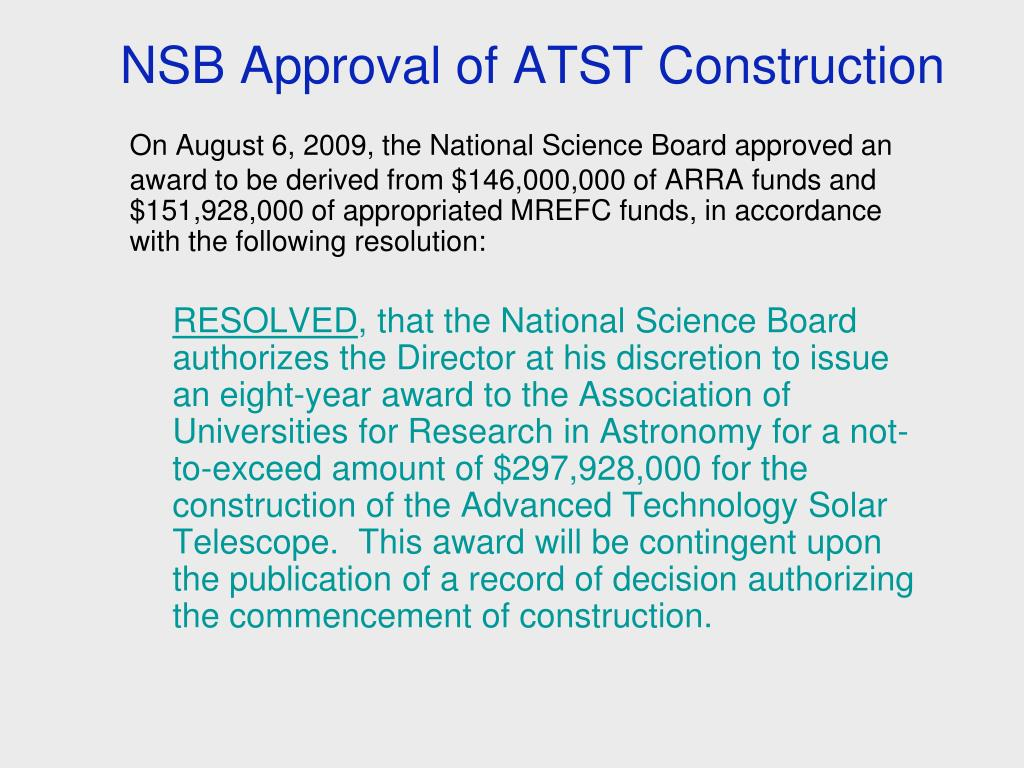 NSB Approval of ATST Construction