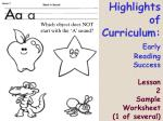 highlights of curriculum early reading success lesson 2 sample worksheet 1 of several