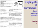 highlights of curriculum early reading success lesson 2